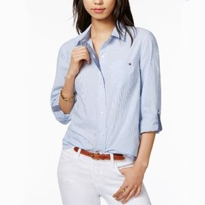 TOMMY HILFIGER Pinstripe Blue White Button Blouse